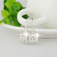 Silver plated circular drop earrings female models Shamballa fashion jewelry lovely wild super flash retro crystal jewelry