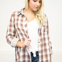Country Road Plaid Top | Tan