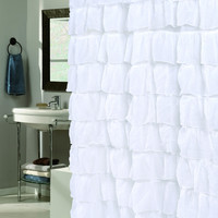 "The Conquistador Collection Flamenco Tiered Crushed Voile Fabric Shower Curtain (70"" x 72"") - White"