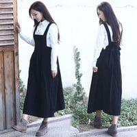 Patch Pocket Drawstring Overalls Maxi Dress
