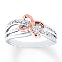 Diamond Heart Ring 1/20 cttw Round-cut 10K Gold/Sterling Silver