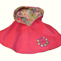 Toddler and Girls Poncho/Girls Pink Fleece Poncho by Brax Designs