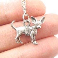 Detailed Chihuahua Toy Puppy Dog in A Sweater Shaped Charm Necklace   MADE IN USA