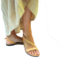 Women Sandals in Natural Brown Color