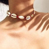 Boho Seashells Collar Choker Necklace for Women Natural Shells Bohemian Jewelry Choker Simple Chokers