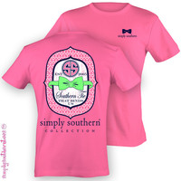 Simply Southern Collection Est Bow Pink Sweet Girlie Bright T Shirt
