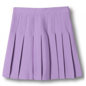 Purple Pleated Mini Skirt