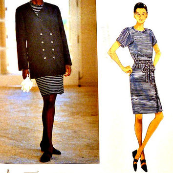 Vogue Pattern 1547 Loose Double Breasted Jacket Mock Wrap Pullover Dress Geoffrey Beene American Designer Sewing Patterns Size 8 10 12 Uncut