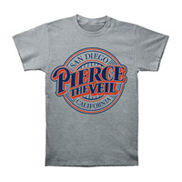 Pierce The Veil Men's  Baseball Logo T-shirt Grey Rockabilia