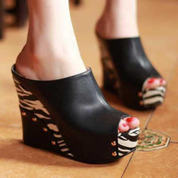 Spring Summer-Fashion Sexy Zebra Print High Heels Platform Summer Shoes Open Toe Sandals for Women New Wedge Shoes Sexy