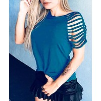 Fashion New Solid Color Hollow Short Sleeve Top Women Blue