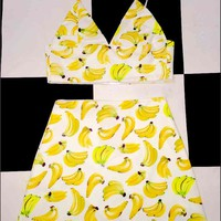 SWEET LORD O'MIGHTY! BANANA MINI SKIRT IN WHITE