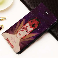 David Bowie custom Wallet for iPhone 4, 4S, 5, 5S, 5C, 6, 6 Plus, 7, Samsung Galaxy S3, S4, S5, S6, S7 Case