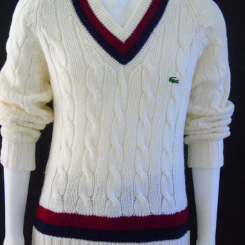 Mens Tennis Sweater Vintage 1960s Izod Lacoste Preppy Cable Knit Size M British Crown Colony of Hong Kong