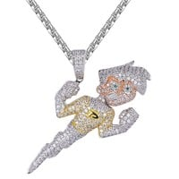 Customized Iced Out Cartoon Character Pendant Free Chain