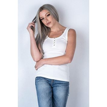 The Cali Ribbed Button Tank in White