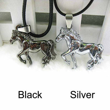 Horse Stainless Steel Pendant Necklace Leather Men Unisex Party Neck Jewellery