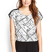 LOVE 21 Printed Open-Back Top Ivory/Black