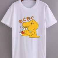 Agumon Dital Monster Digimon Taichi Partner Ready on White Gray Tee
