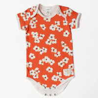Organic orange poppy floral Short sleeve bodysuit