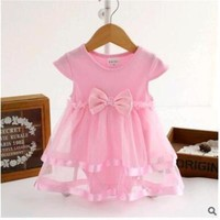 Fashion princess Baby Girls Dress pink Lace Princess Style Party Clothing