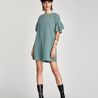 CREPE DRESS WITH RUFFLE TRIMS - View all-DRESSES-WOMAN | ZARA United States