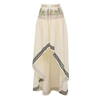 Boho print skirt with drawstring waist