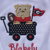 Georgia Bulldog Inspired Football Wagon Baby/Children Shirt or Bodysuit---With or Without Bow---FREE Personalization