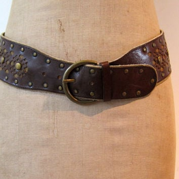 Vintage boho brass and cut out pattern brown leather  wide belt