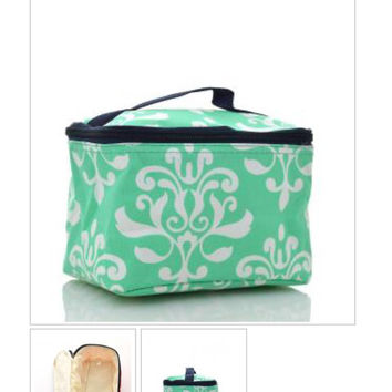Mint Damask Print Cosmetic Pouch
