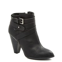 Wrapped Buckle Heeled Bootie by Qupid