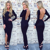 Black Long Sleeve Backless Bodycon Asymmetrical hem Maxi Dress