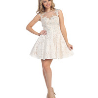 Off White & Nude Open Back Beaded Lace Short Dress 2015 Homecoming Dresses