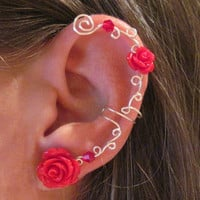 """Non Pierced Ear Cuff  """"Roses are Red"""" Cartilage Conch Cuff Silver tone and Red Lucite Roses"""