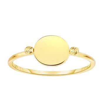 14K Yellow Gold Disc With Diamond Cut Beads Ring, Size 7