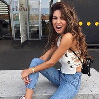 ArtSu Sexy Women White Tank Tops Slim Split Lace Up Button Tanks Crop Top Fitness Camis Casual Autumn Cropped T-Shirt ASVE30053