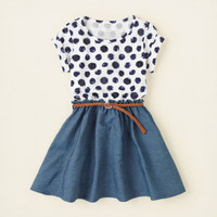 girl - dresses & rompers - sequin dot chambray dress   Children's Clothing   Kids Clothes   The Children's Place