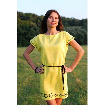 Women's linen (flax) dress-tunic yellow with black embroidery