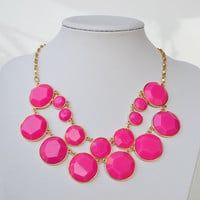 Pink - New Fashion Bubble Bib Statement Necklace,Inspired Double Row BaubleBox Bib Reversible Necklace
