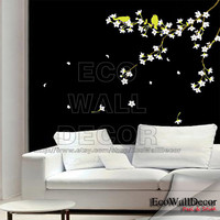 PEEL and STICK Kids Nursery Removable Vinyl Wall Sticker Mural Decal Art - (White) Plum Blossom Tree and Green Birds II