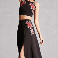 Reverse Crop Top and Skirt Set