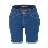 Stretchy Low Rise Fitted Rolled Cuff Denim Jean Bermuda Shorts (CLEARANCE)