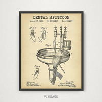 Dental Spittoon Patent Printable, Dentist Fountain Art Poster Print, Gift for Dentist, Dentist Decor, Dental Hygienist, Dental Student Gift