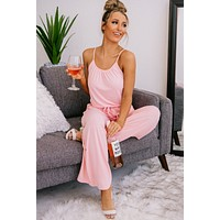 Watch Party Spaghetti Strap Jumpsuit (Dusty Pink)