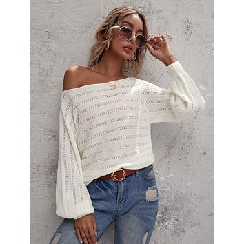 Cut Out Boat Neck Batwing Sleeve Sweater