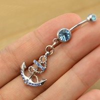 Christmas gift- Anchor Belly Button Rings,Navel Jewlery, anchor elly button ring,navy ring