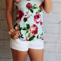 Radiant in Roses Top: Mint