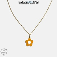Necklace | MY TIME TO BLOOM | Enamel Orange Daisy | Stainless Steel Chain