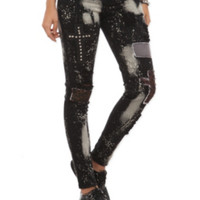 Royal Bones Bleach Patch Stud Skinny Jeans