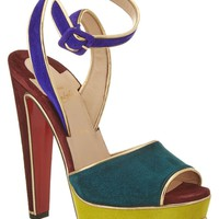 Christian Louboutin Louloudance 140 Suede Ankle Strap Sandal, 36